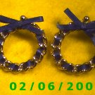 Gold w/Blue Ribbon Pierced Earrings