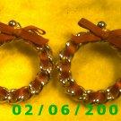 Gold w/Red Ribbon Pierced Earrings