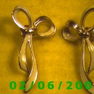 Gold n White Bow Pierced Earrings