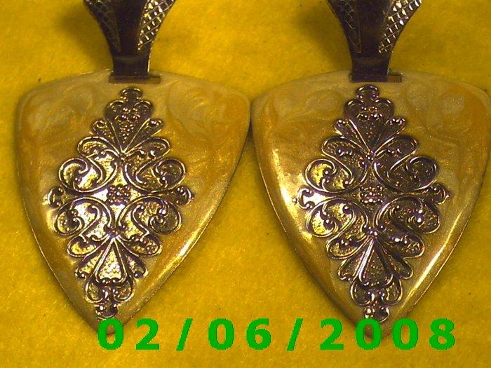 Silver n Painted Triangles Pierced Earrings