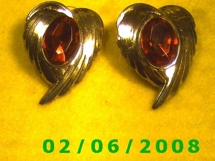 Gold w/Ruby Crystal Pierced Earrings