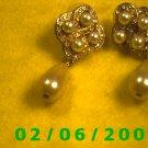 Pearls n Rhinestones w/ Pearl Drop Pierced Earrings (052)