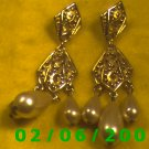Gold Filigree w/Pearl Drops Pierced Earrings