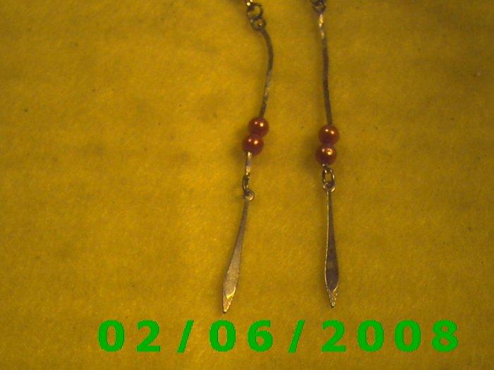 Gold n Bead Dangle Pierced Earrings