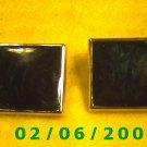 Gold n Green Squares Pierced Earrings