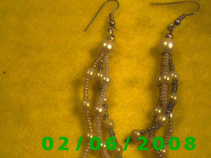 Beed n Pearl Dangle Pierced Earrings