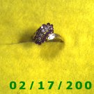 Ring Solid Gold, 10kt  w/diamonds + rubys  size 10 (011)