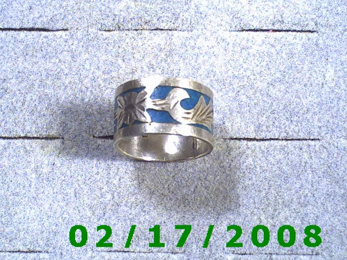 .925 Mexico Ring size 8 12mm wide