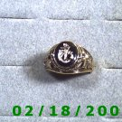 Gold Shield Guard Ring, Navy, size 10, Lifetime Warranty