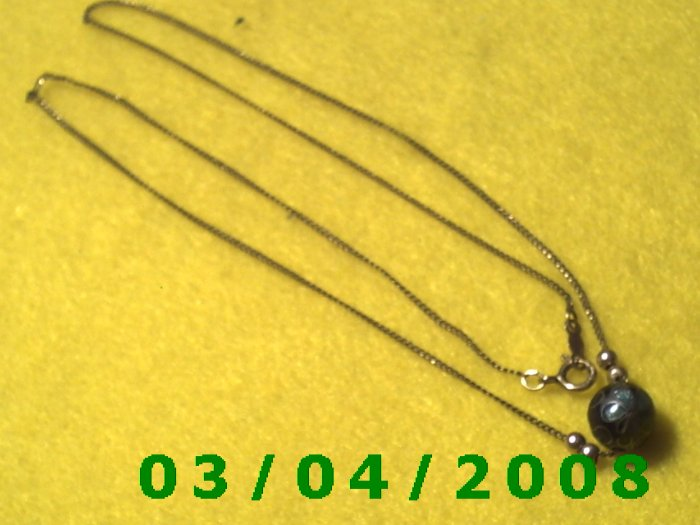 """18"""" Gold Necklace w/beads Signed Elka (045)"""