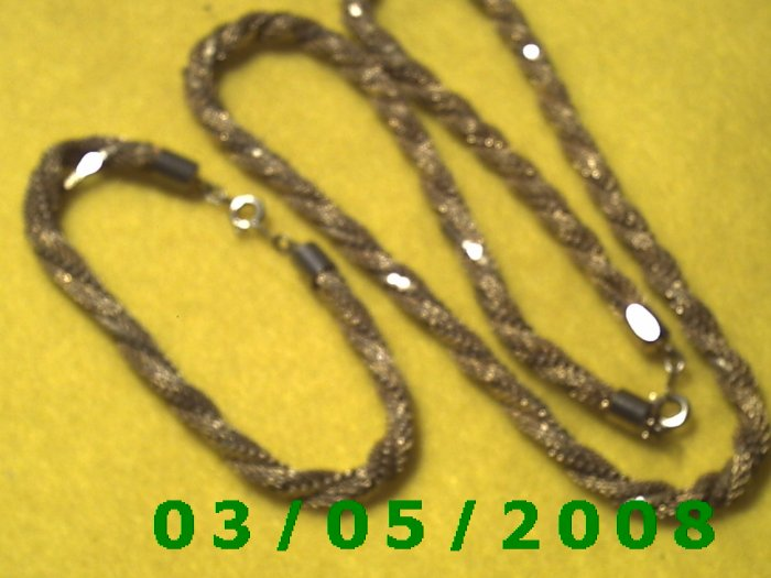 """19"""" Twisted Gold Chain Necklace w/Matching 7"""" Bracelet (034)"""