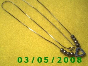 "24"" Silver Necklace w/8 Beads n Heart (020)"