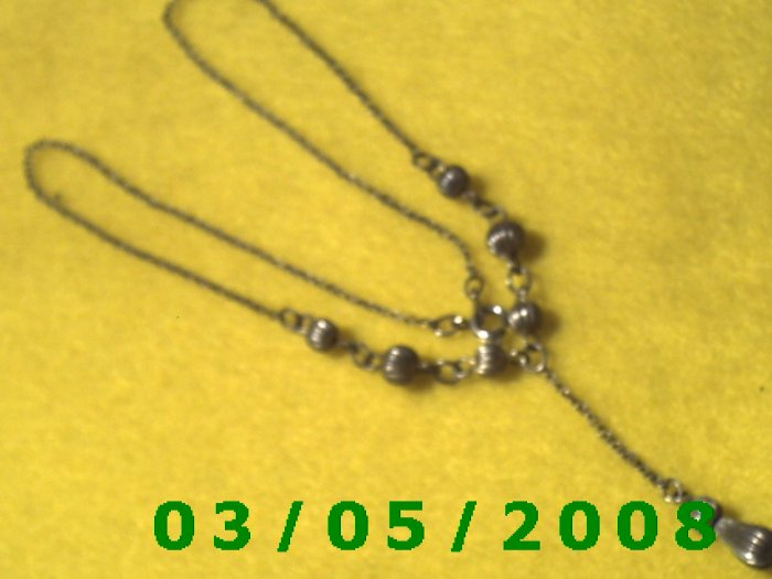 "15 1/2"" Silver Necklace w/Beads (021)"