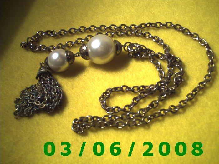 "29"" Gold Necklace w/Pearls n tassle (015)"
