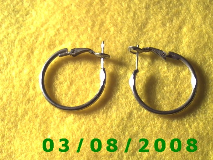 Silver Hoop Pierced Earrings (002)