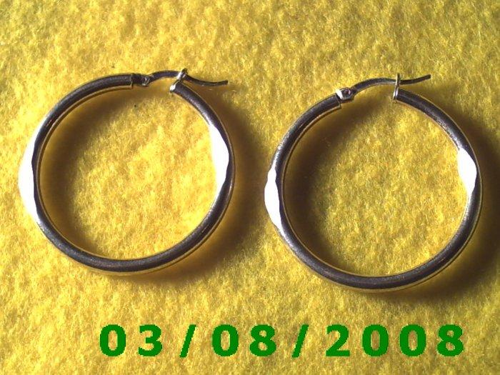 """Silver Hoop Earrings 1 1/2"""" (015)"""
