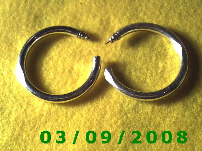 """2"""" Silver Hoop Pierced Earrings (032)"""