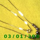 """Vintage 16"""" Gold Plated 50's Necklass w/Gold Pearls (007)"""