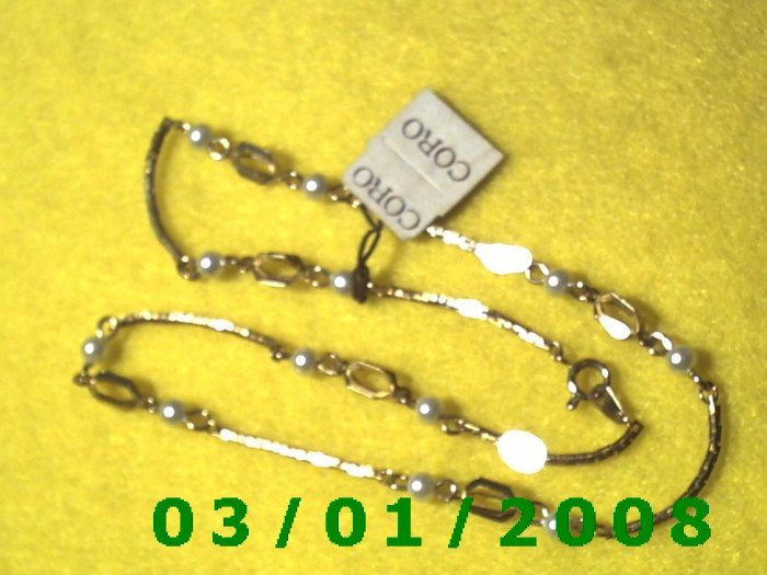 """Vintage 15""""  Gold Plated 50's Necklass w/pearls (010)"""