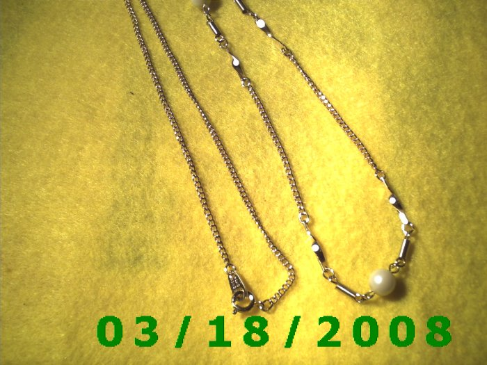 """26"""" 2mm Gold Necklace w/pearls etc  (004)"""