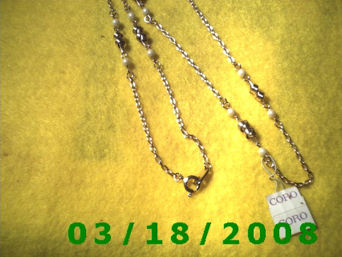 """24"""" 2mm Gold Necklace w/pearls etc"""