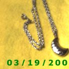 """21 1/2"""" 3mm Silver Necklace w/striped moon charm (014)"""