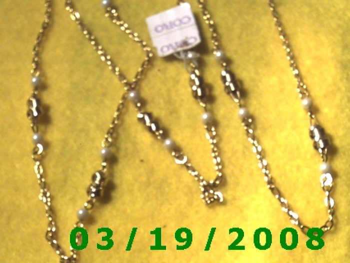 """38 1/2"""" 2mm Gold Necklace w/pearls (016)"""
