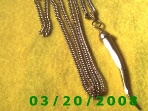 """31"""" 4mm Gold Necklace w/Tooth  (E-4005)"""