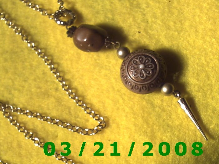 """33"""" 2mm Gold Necklace w/Wood n Metal dangle  (E-4013)"""