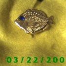 """7/8 x 1 1/4"""" Gold Button Cover (Fish) Sapphire Stone  (R006)"""