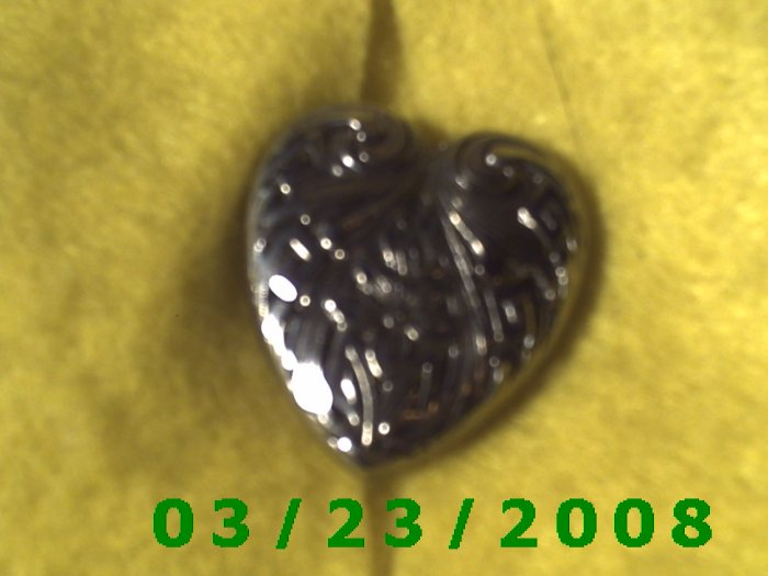 "1 x 1 1/8"" Silver Heart Button Cover (metal  (R021)"