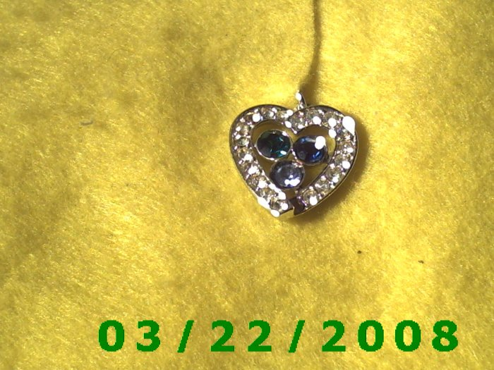 "7/8 x 1"" Silver Heart w/Emerald, Sapphire, Tourmaline Stone signed Sarah Cov (R002)"