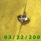 "9/16"" Silver Heart Charm w/Pink stone  (R016)"