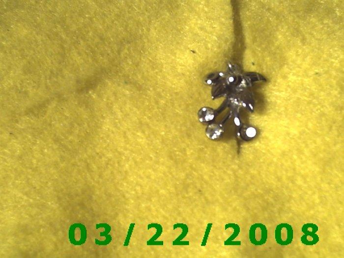 """3/4"""" Silver Flower w/Rhinestones  (R018)"""
