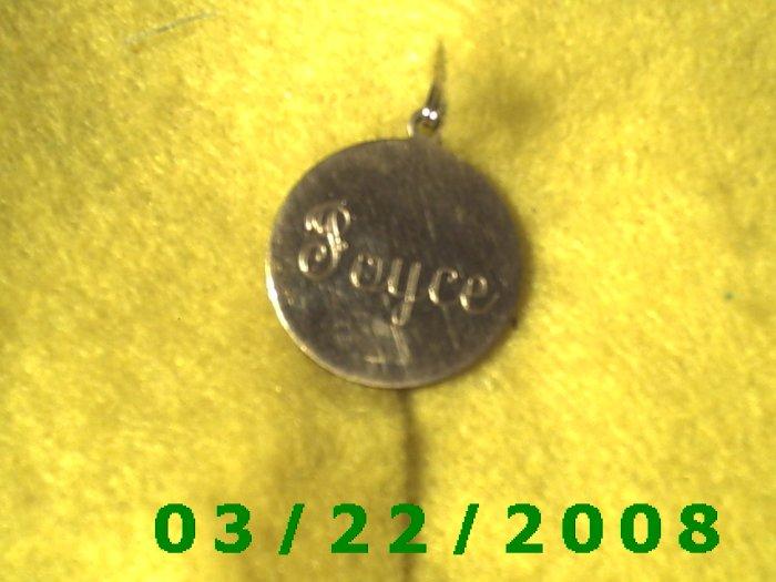 """13/16"""" Brass Charm w/Joyce 3-10-78  (R035)"""