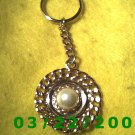 "1 3/4 x 4 1/4"" Gold Key Ring w/Pearl  (R004)"