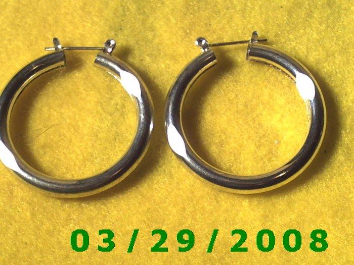 """1 1/2"""" Silver Hoop Pierced Earrings (026)"""