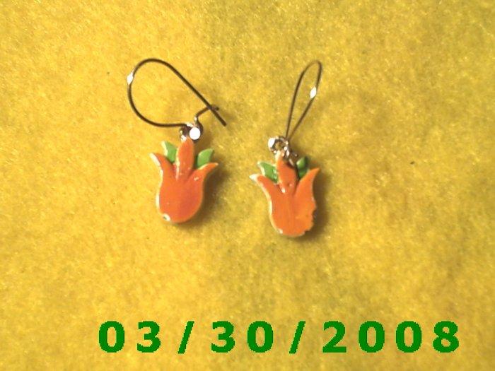 Gold Flower Pierced Earrings  (021)