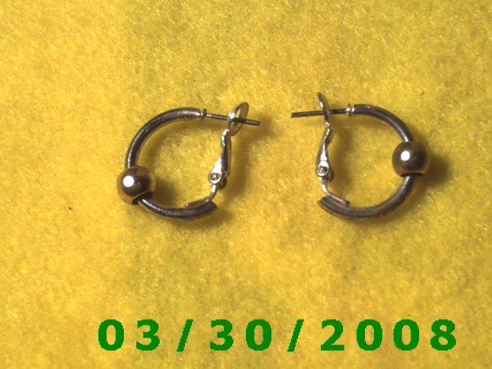 Silver w/Gold Bead Pierced Earrings  (024)