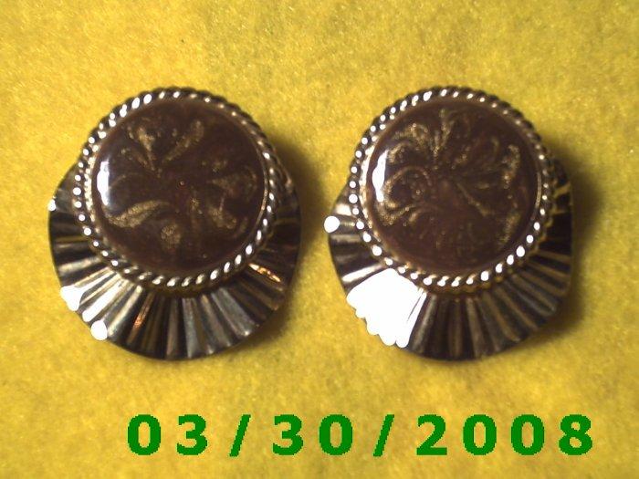 Silver n Brown Pierced Earrings  (036)