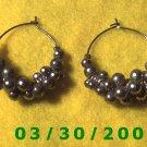 Silver Bead Cluster Pierced Earrings  (039)