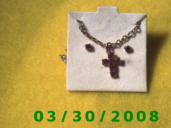 January Birthstone Necklace and Earrings Set Garnet (001)
