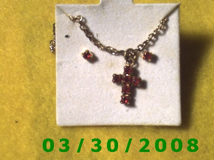 July Birthstone Necklace and Earrings Set Ruby (005)