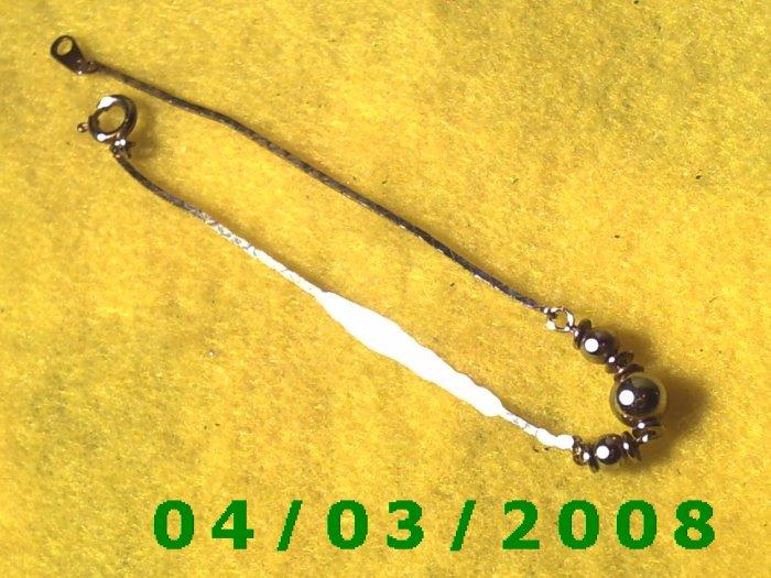 Silver Bracelet w/metal Beads   (004)