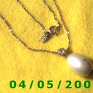 Silver Necklace w/Pearl Pendant and stone, Emmons   E5004