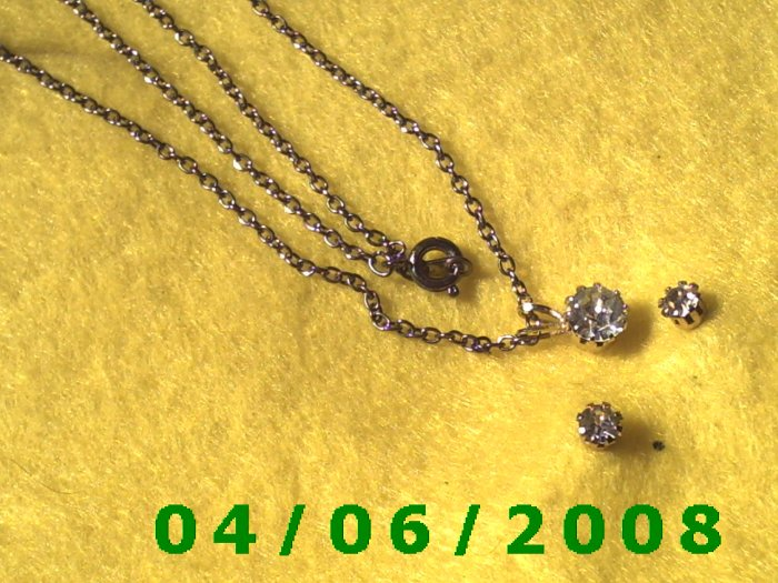 Silver Necklace w/CZ and matching pierced earrings E5032