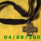 Black Velvet Choker w/Silver Cross    E6029