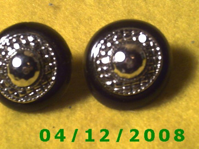 Silver and Black Pierced Earrings      Q1005