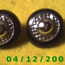 Silver and Black Pierced Earrings      Q1005