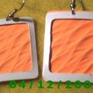 Orange and White Pierced Earrings      Q1007